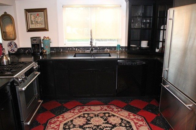 Black Shaker Farm House Kitchen-Great Room eclectic kitchen