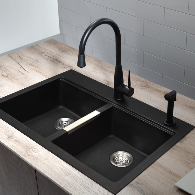 Black sink and faucet modern-kitchen