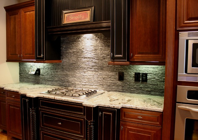 black slate back splash traditional kitchen atlanta