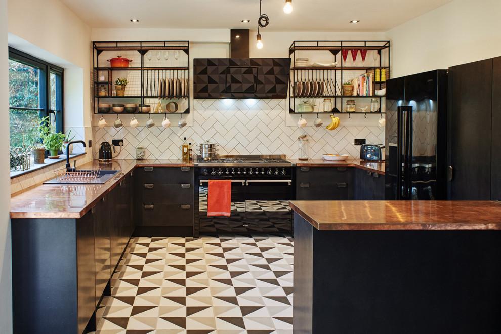 Black Valchromat And Copper Kitchen Modern Kitchen Sussex By Johnson Bespoke Ltd