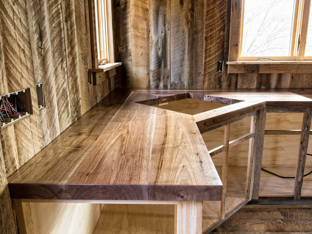 black walnut counter top rustic kitchen by william