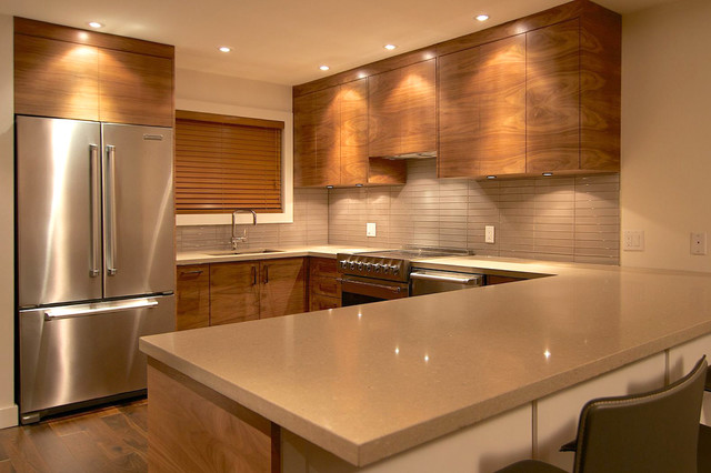 dark walnut kitchen cabinets black walnut grain matched modern kitchen vancouver 14491