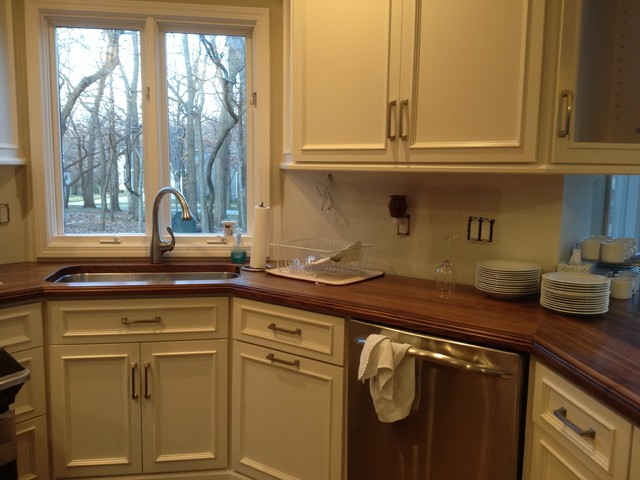 Black Walnut Wood Countertops Traditional Kitchen By