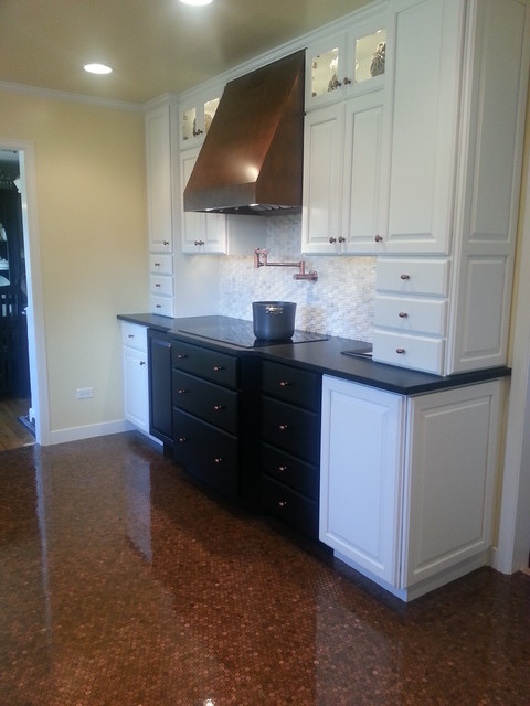 Black White And Copper Kitchen Remodel Transitional Kitchen Chicago By Patti Yost