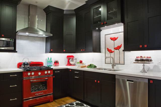 Black, White & Red Kitchen - eclectic - kitchen - atlanta - by ...