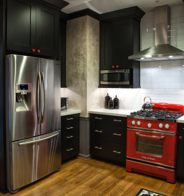 Black, White And Red Kitchen