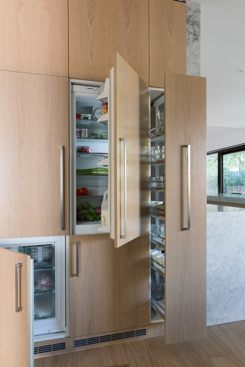 pull out cabinet next to fridge