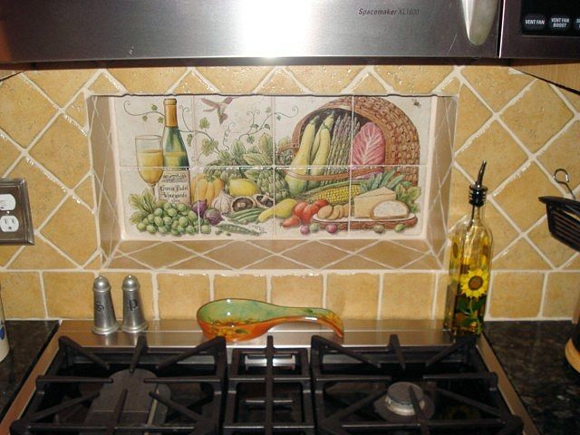 Hand painted ceramic tile backsplash