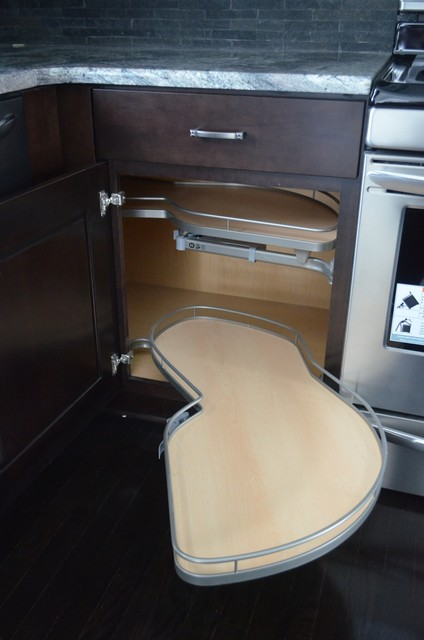 Blind Corner Base Cabinet with Pull-Out Shelves contemporary-kitchen
