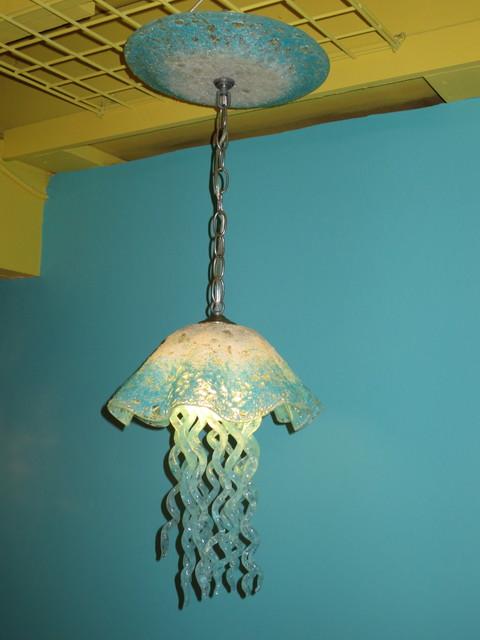 Blown glass pendant light jellyfish light beach style for Jellyfish light fixture
