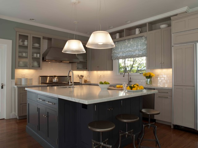 Blue and Gray Kitchen  Traditional  Kitchen  other metro  by Ann