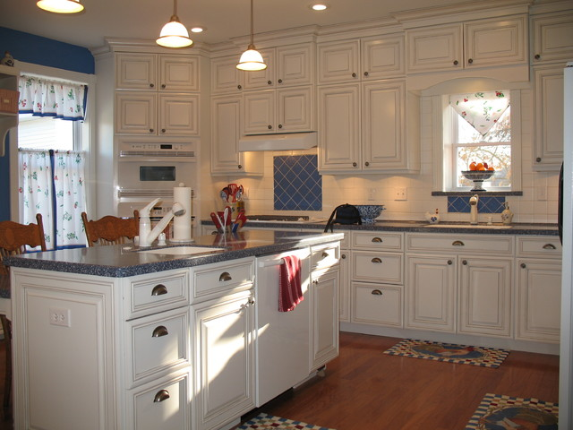 Blue and White Country Kitchen  Farmhouse  other metro  by