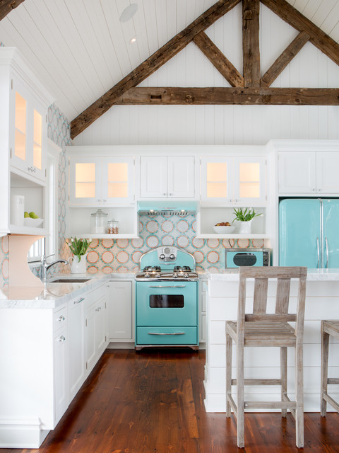 Blue and White Kitchen Renovation St. Louis, MO beach-style-kitchen