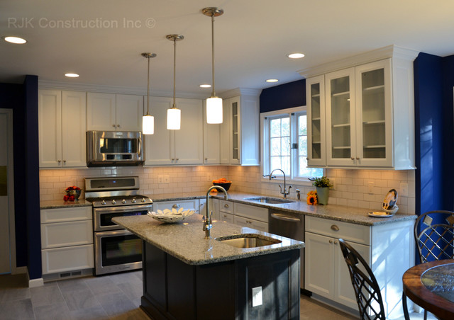 Blue and White Kitchen - Traditional - Kitchen - dc metro - by RJK Construction Inc