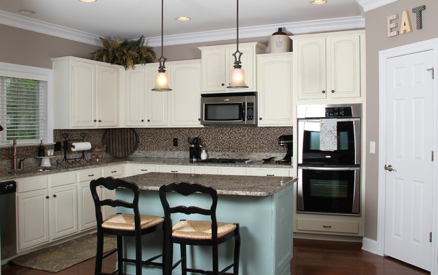 Blue Painted Kitchen Cabinets blue and white painted kitchen cabinets - traditional - kitchen