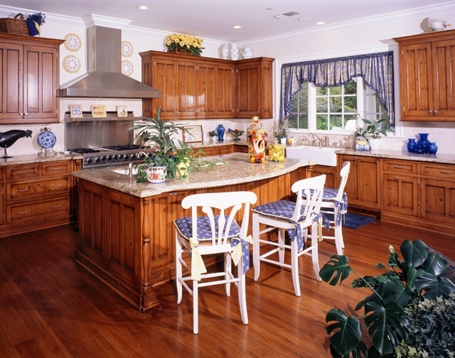 blue and yellow kitchen traditional kitchen