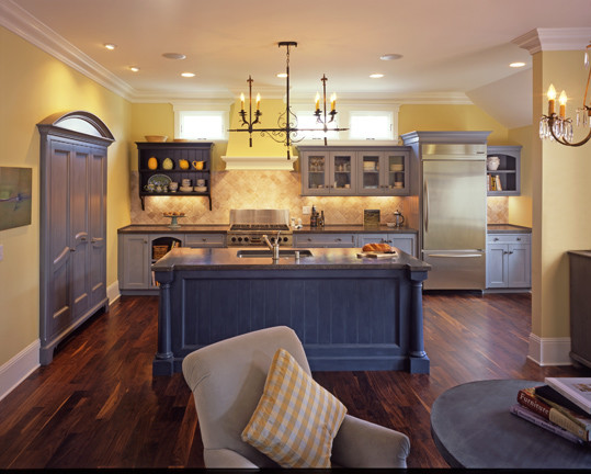 Blue and yellow kitchen for Blue and yellow kitchen decorating ideas