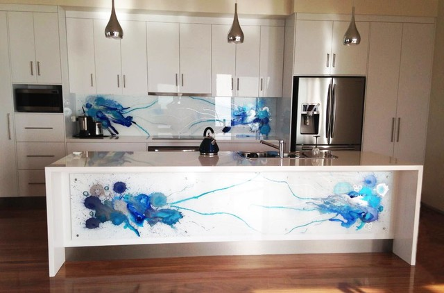 Blue art glass splashbacks for Kitchen design 14x14