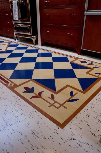 Blue Checkerboard Floor Craftsman Kitchen San