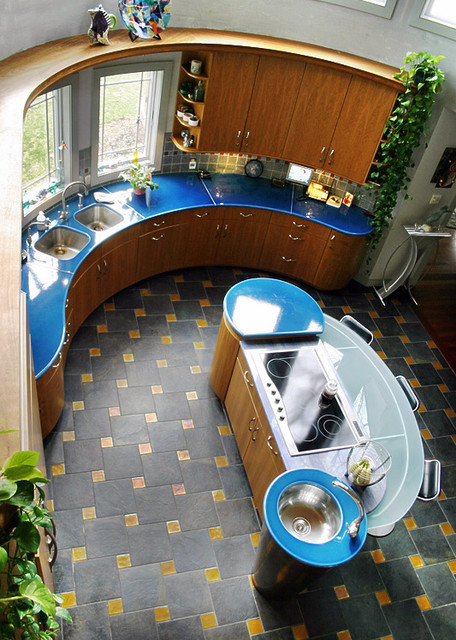 blue countertop contemporary kitchen