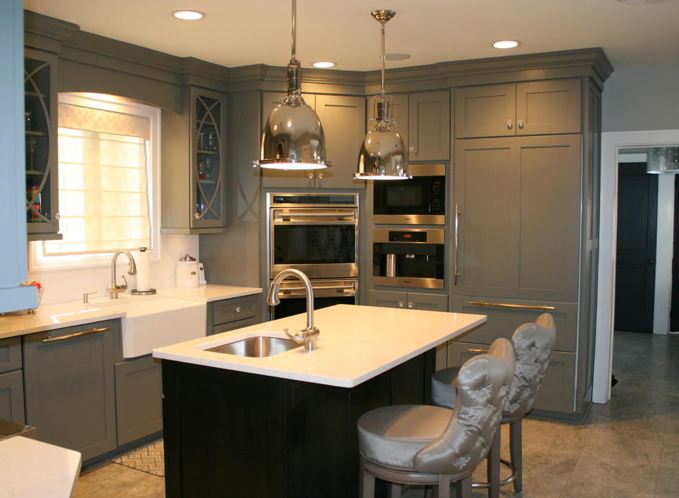 Blue Custom Colonial - Contemporary - Kitchen - New York ...