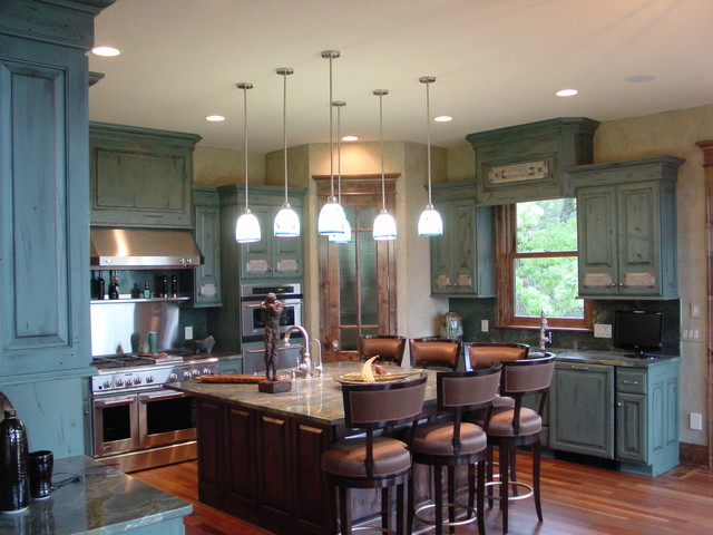 Blue Distressed Kitchen Cabinetry traditional-kitchen - Blue Distressed Kitchen Cabinetry