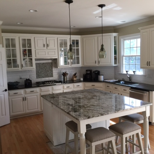 white marble tile countertops