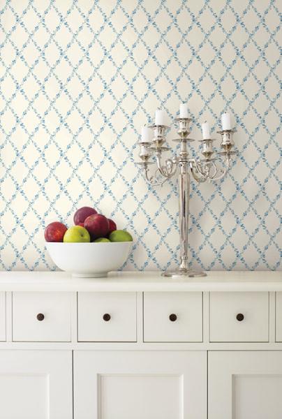 Blue floral trellis wallpaper traditional kitchen for Blue kitchen wallpaper