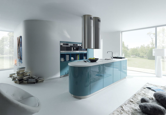 Blue Grey Gloss Lacquer Modern Kitchen London By
