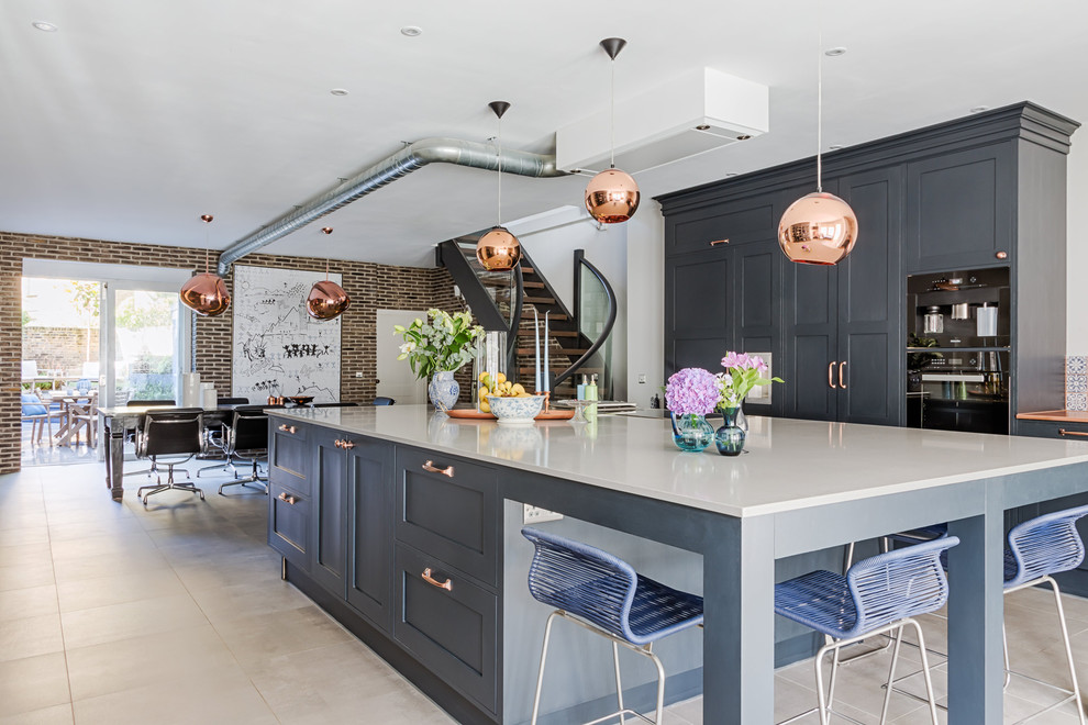 Blue Grey Shaker Kitchen With Copper Industrial Kitchen London By Sola Kitchens