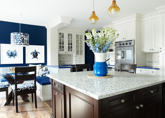 Blue Kitchen - Contemporary - Kitchen - new york - by Karen B Wolf Interiors, Associate ASID