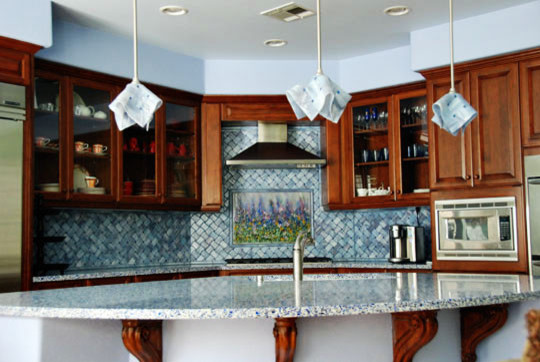 Backsplash Kitchen Blue blue lavender backsplash