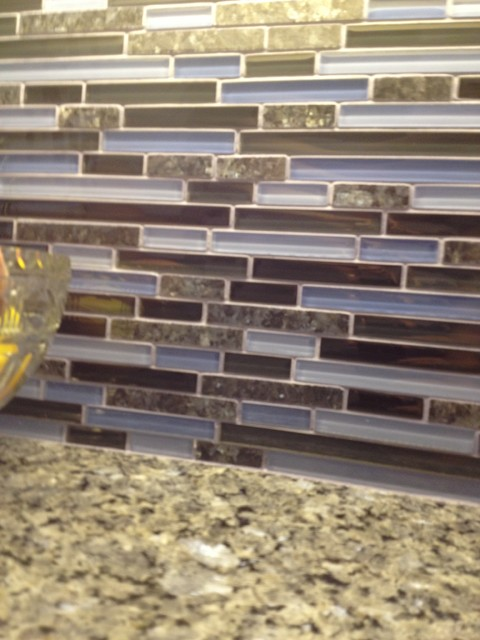 Blue Pearl Granite Counter Gl Mosaic Tile With Grout Transitional Kitchen