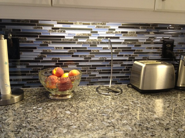 Blue Pearl Granite Counter with Glass & Granite Backsplash ...