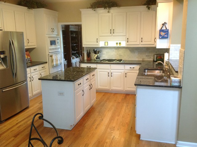 Blue pearl granite countertops traditional kitchen for White kitchen cabinets with blue pearl granite