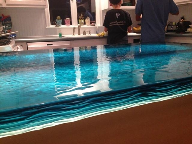 Blue wave glass counter top modern kitchen other for Glass kitchen countertops