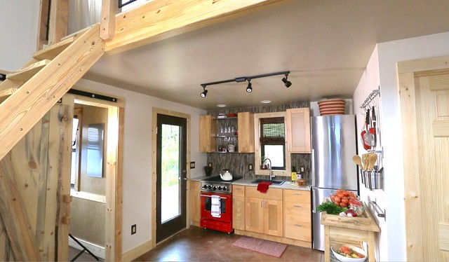 Inspiration For A Small Modern Kitchen Remodel In Denver With Colored Liances