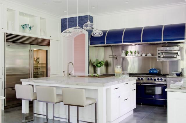 Bluestar kitchen featuring a 60 platinum range with 24 for Kitchen design 14x14