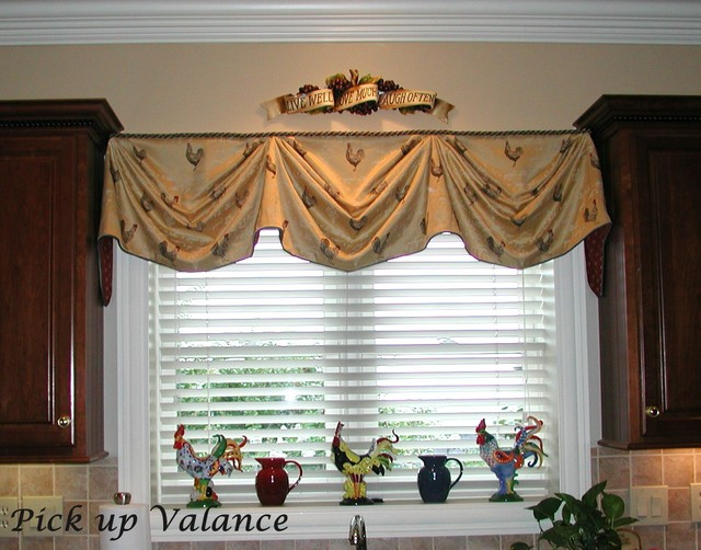 Board mounted valances traditional kitchen other for Traditional kitchen curtains
