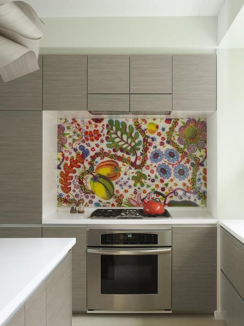 Bohemian Apartment Kitchen with Fabric Backsplash