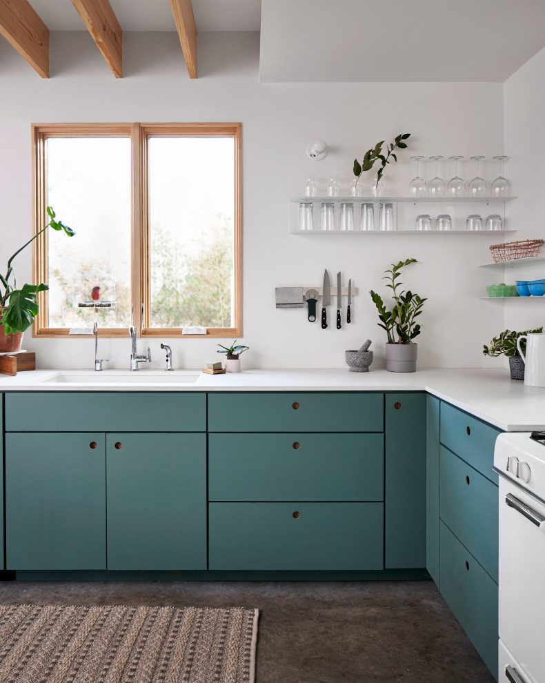 Boho Kitchen with Green Painted Cabinets - Eclectic ...