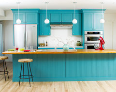 Bold and Blue Cottage Kitchen eclectic kitchen