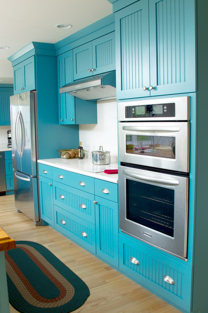 Bold and Blue Cottage Kitchen eclectic-kitchen