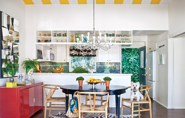 inspiration for an eclectic kitchen remodel in san francisco with flat panel cabinets white - Eclectic Kitchen