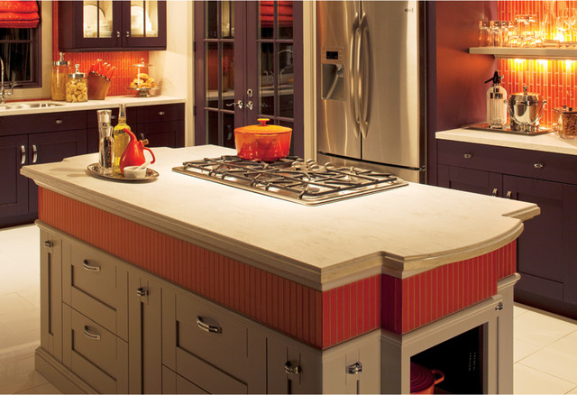 Bold Orange Backsplash traditional-kitchen