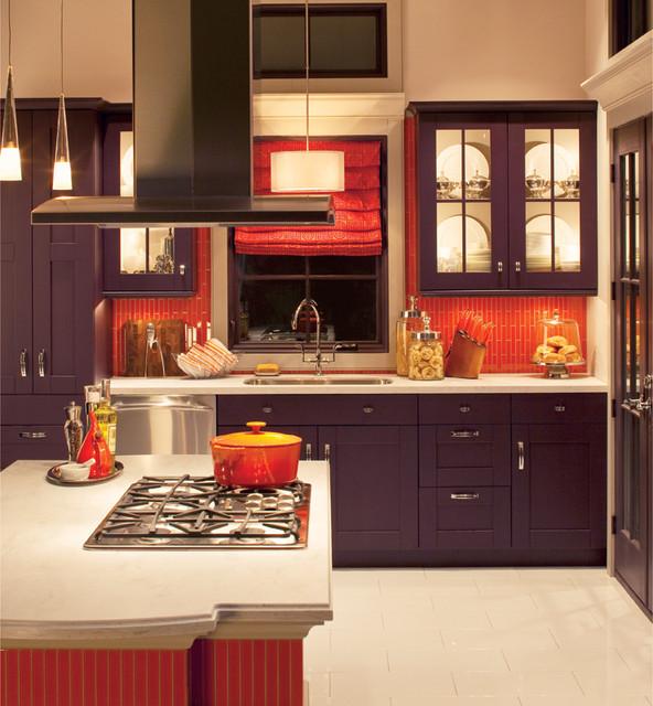 bold orange backsplash traditional kitchen