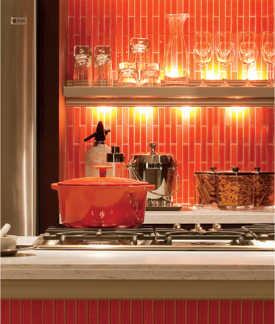 bright orange tile backsplash -#main