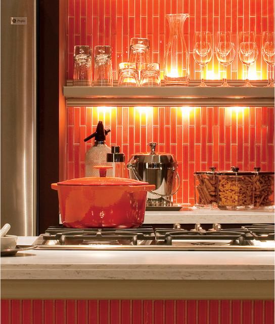 Orange Kitchen Backsplash Tile: Bold Orange Backsplash