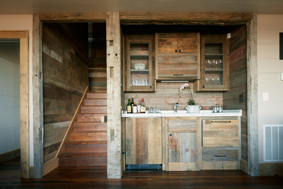 Mountain style kitchen photo in Richmond with medium tone wood cabinets and glass-front cabinets