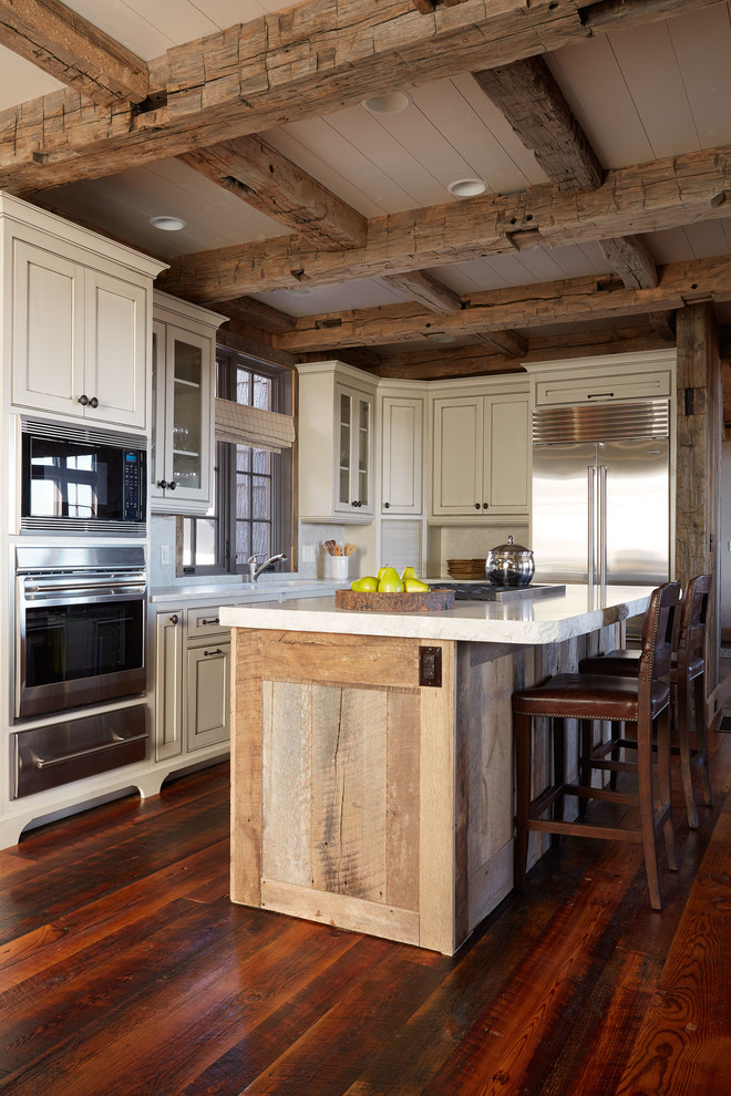 Inspiration for a rustic l-shaped kitchen remodel in Richmond with beaded inset cabinets, white cabinets and stainless steel appliances